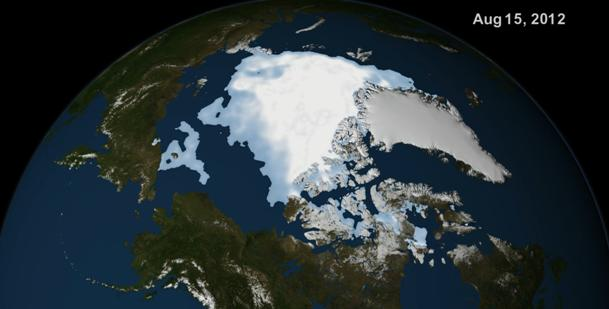 NASA visualization of the Arctic on August 15th 2012