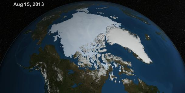 NASA visualization of the Arctic on August 15th 2013