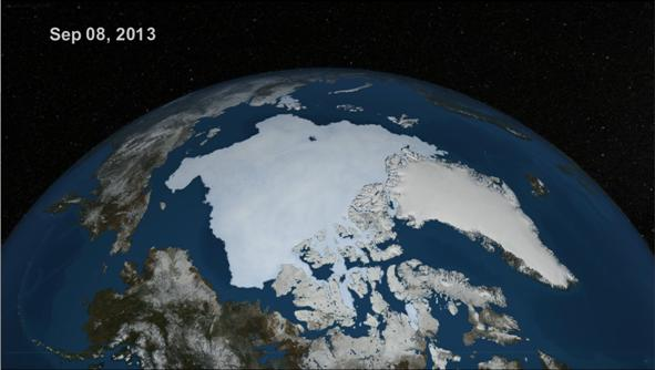 NASA visualisation of Arctic sea ice extent on September 8th 2013