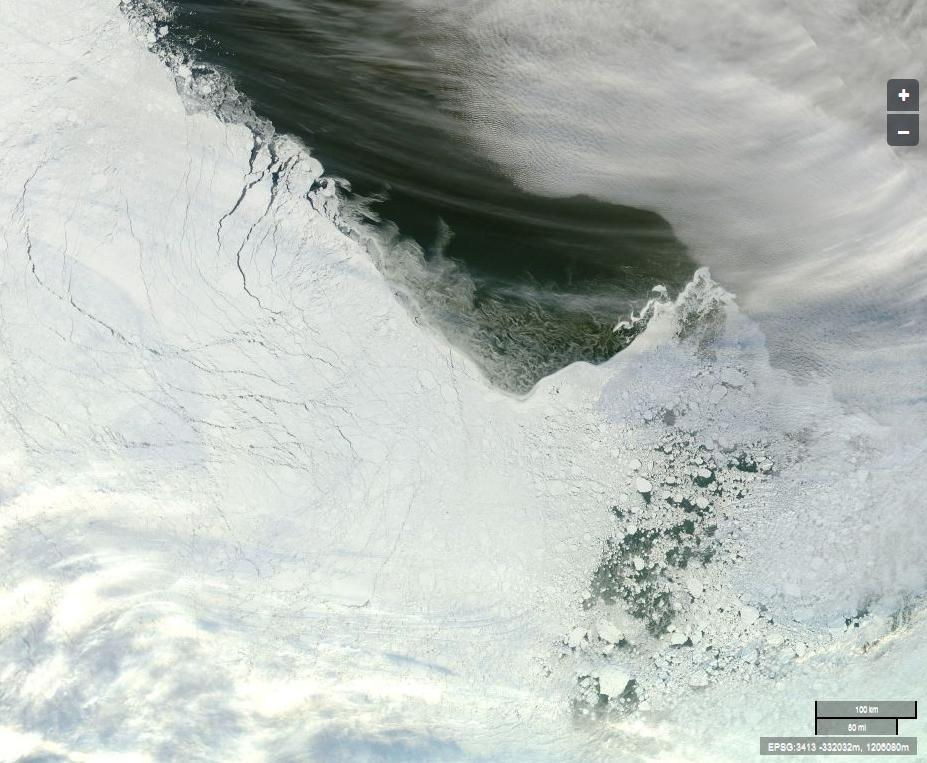 "The Arctic sea ice edge off ""Russia's northern shores"" from the Aqua satellite"