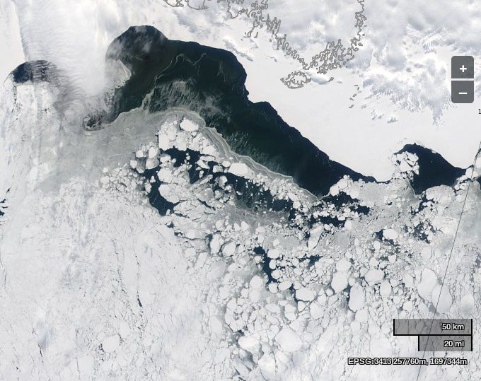 "The Laptev Sea using MODIS ""real colour"" on the Aqua satellite on April 21st 2014"