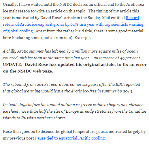 "An extract from Judith Curry's blog article ""Arctic sea ice minimum?"" on October 13th 2013"