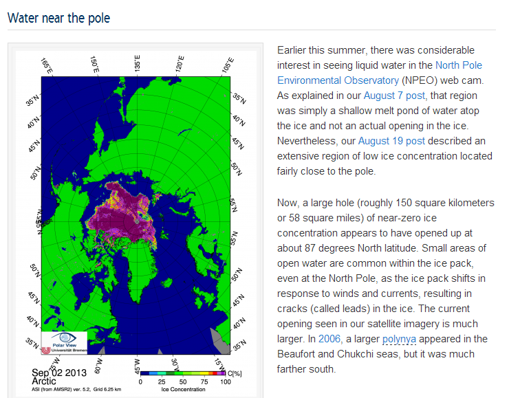 """The NSIDC discuss """"Water Near the Pole"""" on September 4th 2013"""