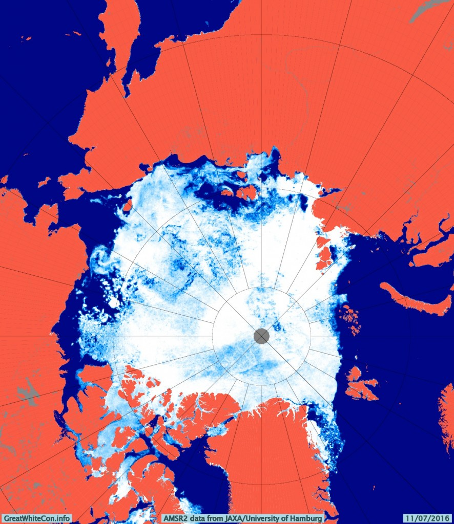 AMSR2 Arctic sea ice concentration on July 11th 2016 from the University of Hamburg
