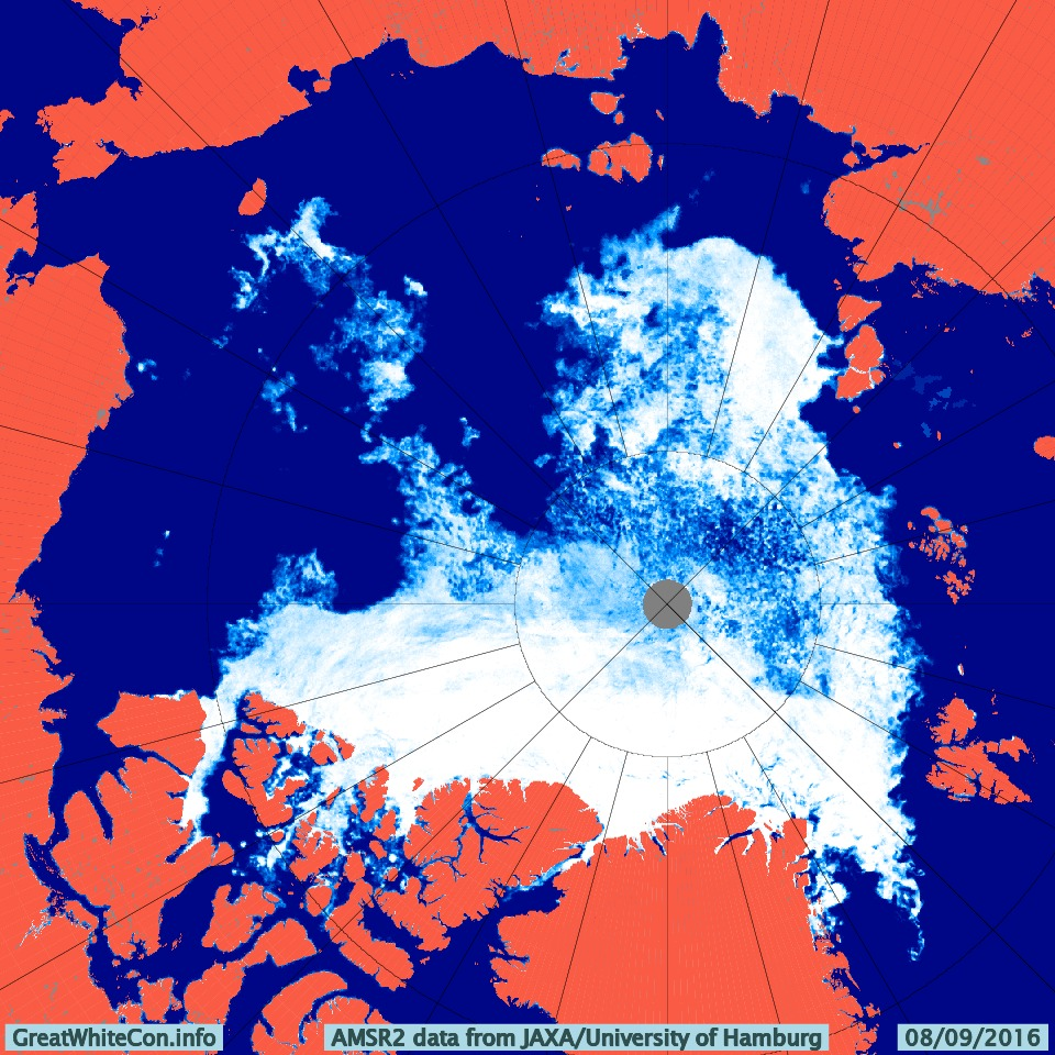 AMSR2 Arctic sea ice concentration on September 8th 2016 from the University of Hamburg
