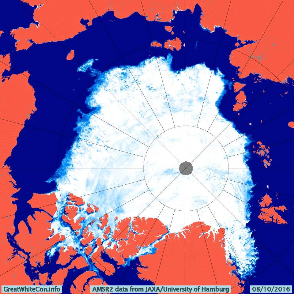 AMSR2 Arctic sea ice concentration on October 8th 2016 from the University of Hamburg