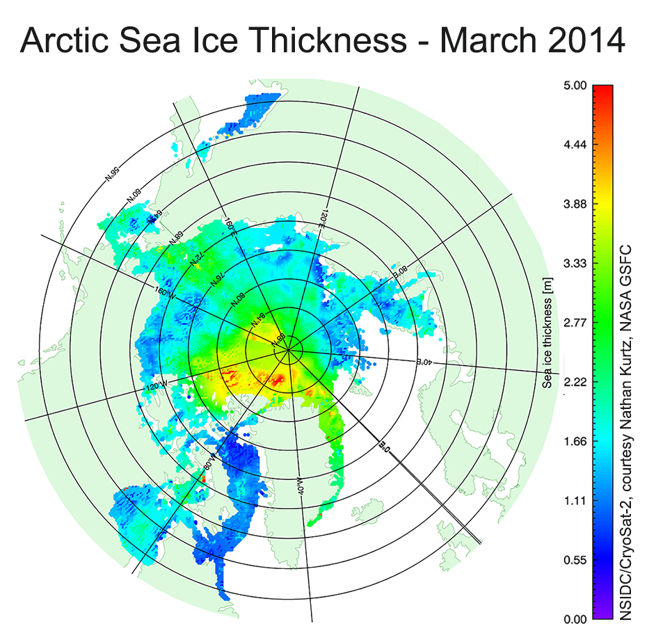 CryoSat 2 Arctic sea ice thickness for March 2014