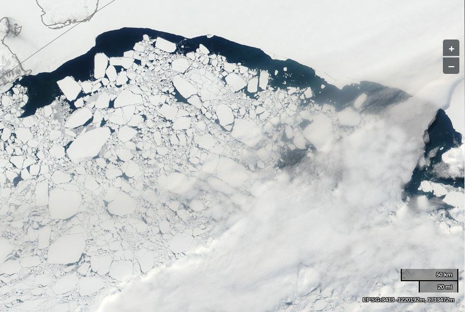"NASA Worldview ""true-color"" image of the East Siberian Sea on May 22nd 2014, derived from bands 1, 4 and 3 of the MODIS sensor on the Aqua satellite"