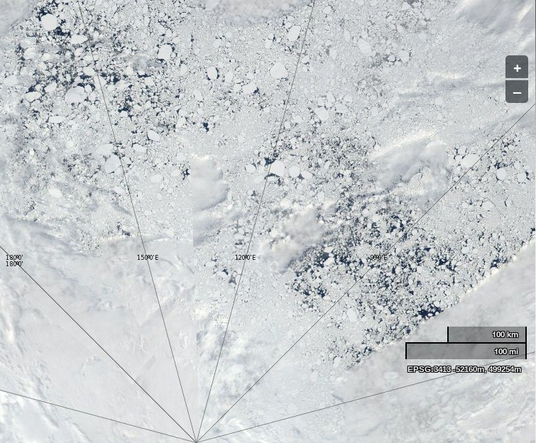 "NASA Worldview ""true-color"" image of the Arctic north of the Laptev sea on July 6th 2013, derived from bands 1, 4 and 3 of the MODIS sensor on the Aqua satellite"