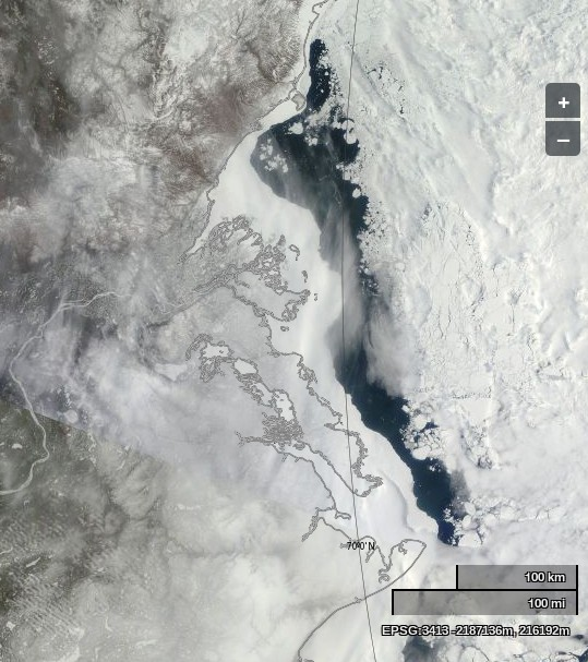"NASA Worldview ""true-color"" image of the Beaufort Sea off the Mackenzie Delta on May 12th 2014, derived from bands 1, 4 and 3 of the MODIS sensor on the Terra satellite"