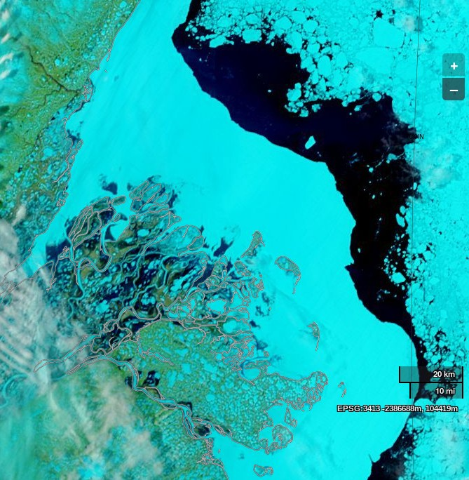 NASA Worldview image of the Beaufort Sea and the MacKenzie Delta on May 26th 2014, derived from bands 7, 2 and 1 of the MODIS sensor on the Terra satellite