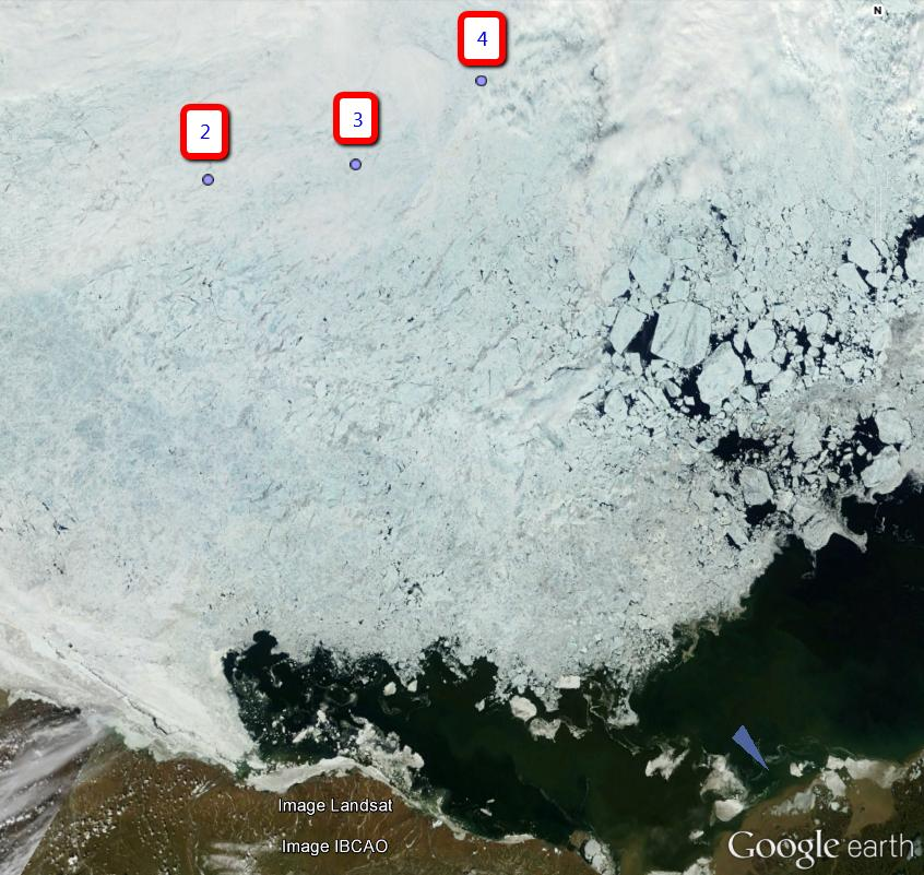 Location of Beaufort Sea MIZ buoy clusters on June 25th 2014