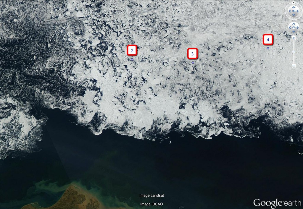 Location of Beaufort Sea MIZ buoy clusters on August 12th 2014