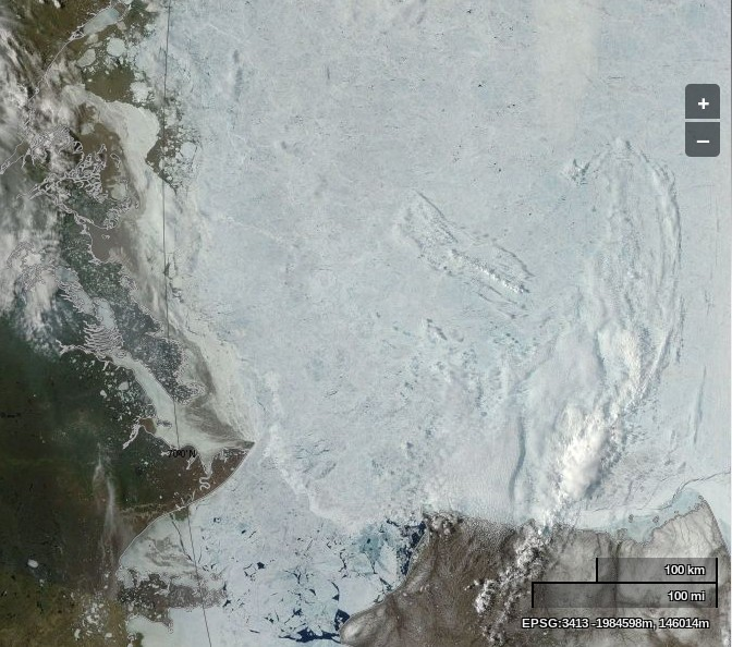 "NASA Worldview ""true-color"" image of the Beaufort Sea on June 21st 2013, derived from bands 1, 4 and 3 of the MODIS sensor on the Terra satellite"