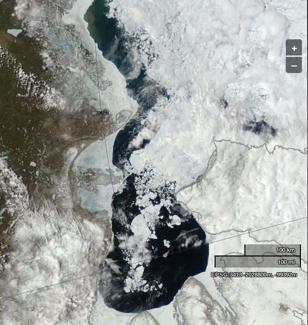"NASA Worldview ""true-color"" image of the Beaufort Sea and Amundsen Gulf on June 8th 2014, derived from bands 1, 4 and 3 of the MODIS sensor on the Terra satellite"
