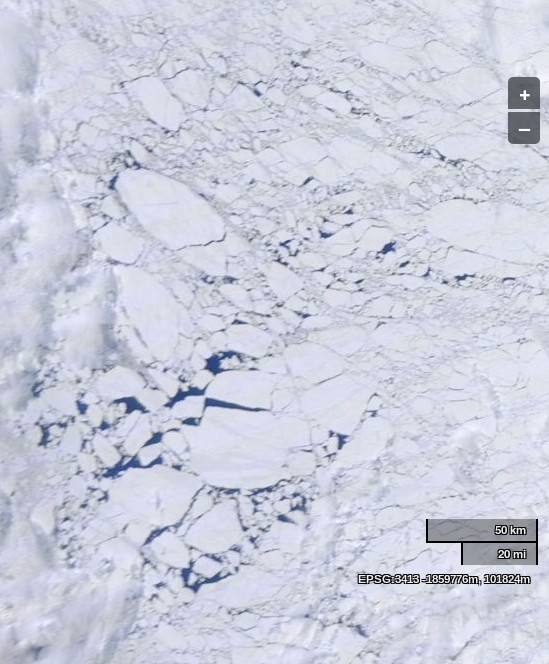 "NASA Worldview ""true-color"" image of the Beaufort Sea on June 11th 2014, derived from bands 1, 4 and 3 of the MODIS sensor on the Terra satellite"