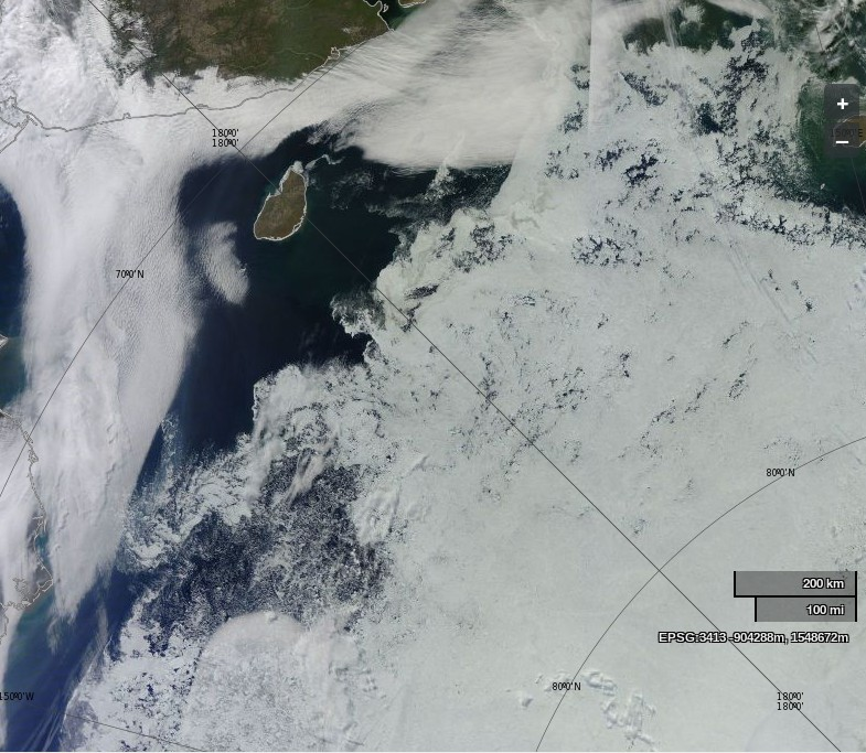 "NASA Worldview ""true-color"" image of the Chukchi and East Siberian Seas on August 10th 2014, derived from bands 1, 4 and 3 of the MODIS sensor on the Terra satellite"