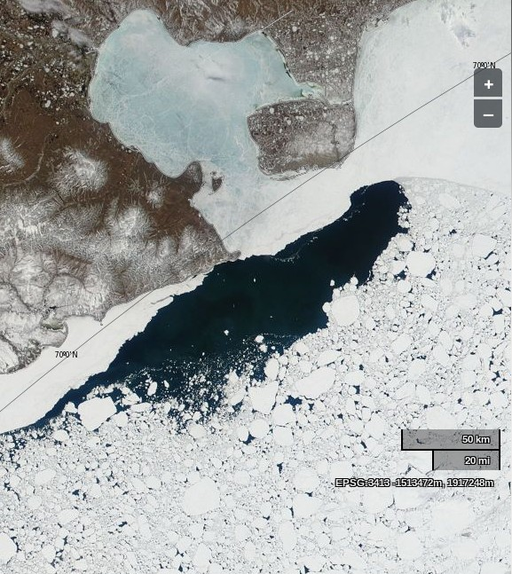 "NASA Worldview ""true-color"" image of the East Siberian Sea on June 11th 2014, derived from bands 1, 4 and 3 of the MODIS sensor on the Terra satellite"