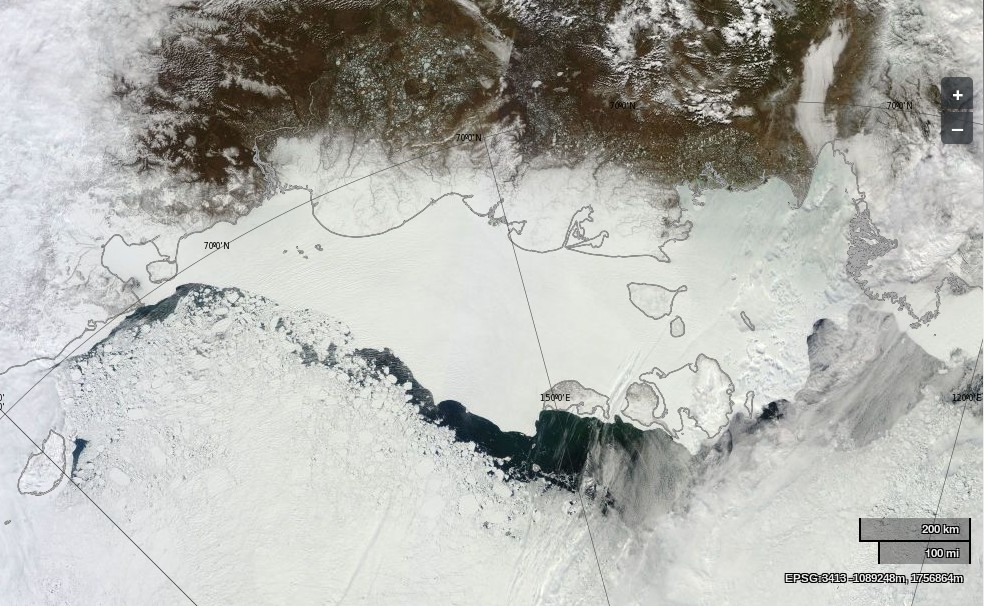 "NASA Worldview ""true-color"" image of the East Siberian Sea on June 1st 2014, derived from bands 1, 4 and 3 of the MODIS sensor on the Terra satellite"