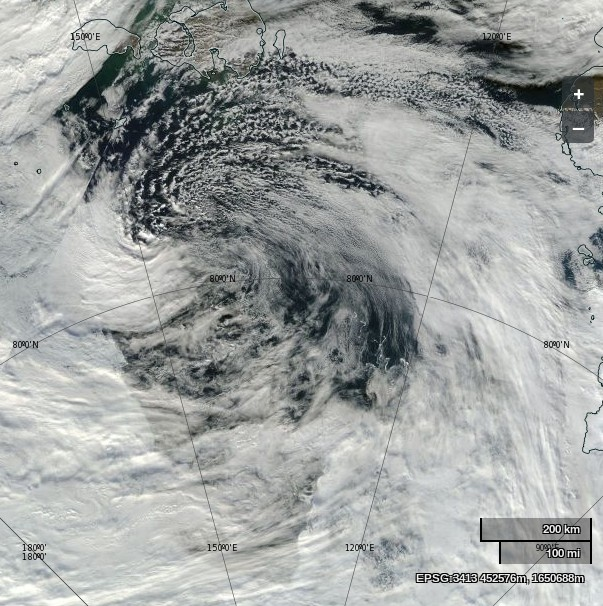 "NASA Worldview ""true-color"" image of a cyclone over the Laptev Sea on August 26th 2014, derived from bands 1, 4 and 3 of the MODIS sensor on the Aqua satellite"