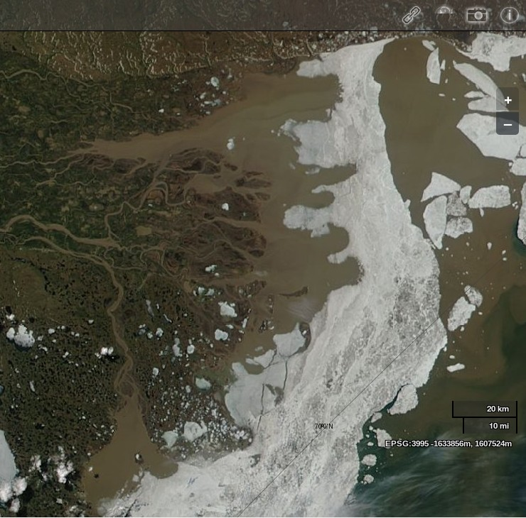 "NASA Worldview ""true-color"" image of the Mackenzie Delta and the Beaufort Sea on June 17th 2012, derived from bands 1, 4 and 3 of the MODIS sensor on the Aqua satellite"