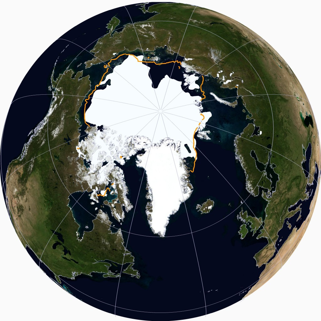 NSIDC high resolution Arctic sea ice extent visualisation on August 16th 2014