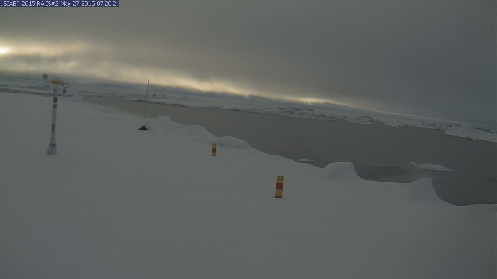Ice Mass Balance Buoy 2015B webcam image on May 27th 2015. Spot the snow!