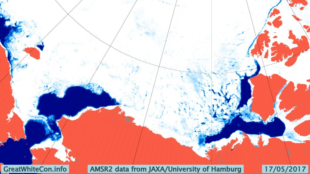 AMSR2 Beaufort sea ice concentration on May 17th 2017 from the University of Hamburg