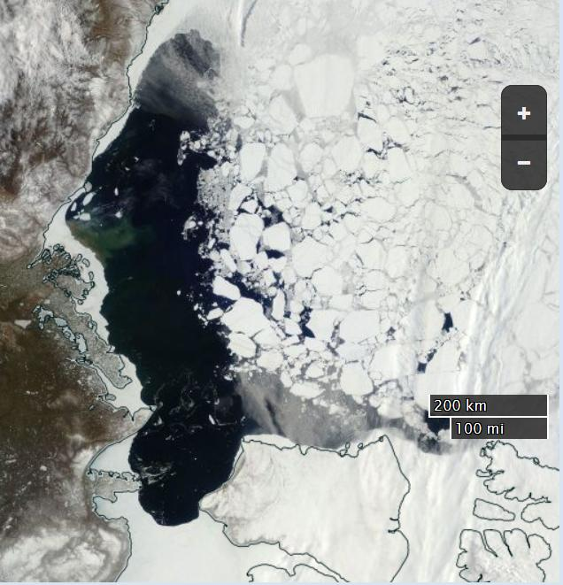 "NASA Worldview ""true-color"" image of the Beaufort Sea on May 20th 2016, derived from the MODIS sensor on the Terra satellite"