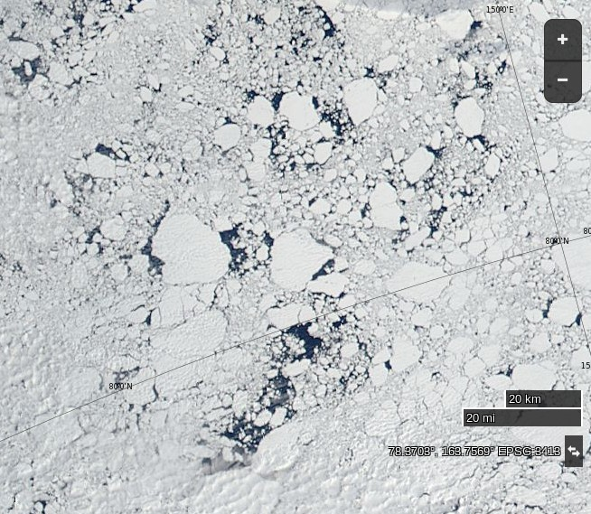 """NASA Worldview """"true-color"""" image of broken ice north of the East Siberian Sea on June 22nd 2015, derived from bands 1, 4 and 3 of the MODIS sensor on the Aqua satellite"""