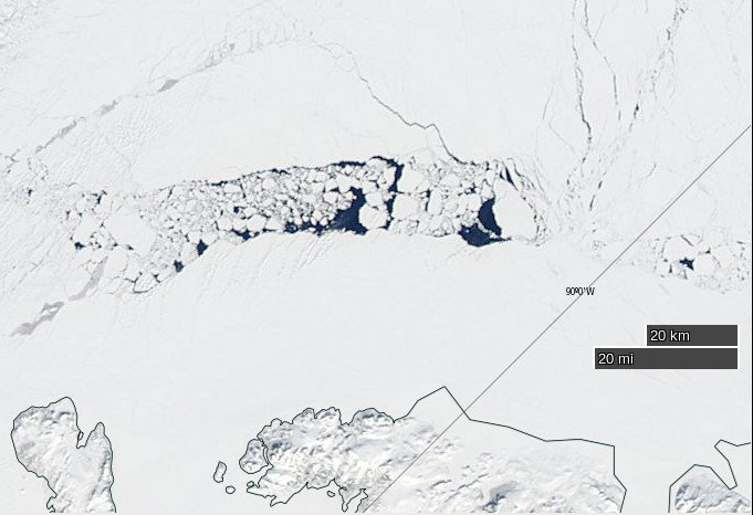 "NASA Worldview ""true-color"" image of broken ice north of Ellesmere Island on June 4th 2015, derived from bands 1, 4 and 3 of the MODIS sensor on the Aqua satellite"