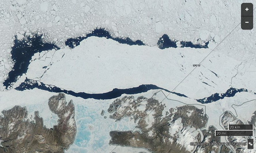 A large area of fast ice north of Ellesmere Island breaks free on July 11th 2015, derived from bands 1, 4 and 3 of the MODIS sensor on the Aqua satellite