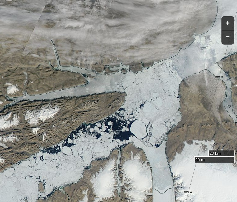 "NASA Worldview ""true-color"" image of the Nares Strait breaking up on July 7th 2015, derived from bands 1, 4 and 3 of the MODIS sensor on the Aqua satellite"