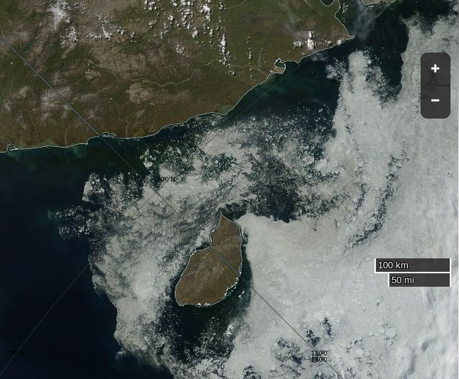 "NASA Worldview ""true-color"" image of the East Siberian Sea near Wrangel Island on July 5th 2015, derived from bands 1, 4 and 3 of the MODIS sensor on the Aqua satellite"