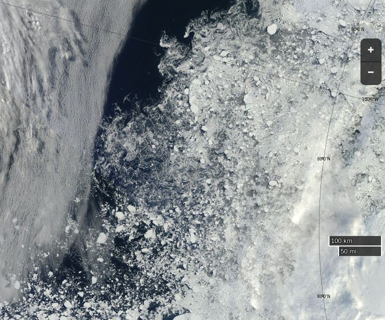 "NASA Worldview ""true-color"" image of the Beaufort Sea on September 13th 2015, derived from the MODIS sensor on the Terra satellite"