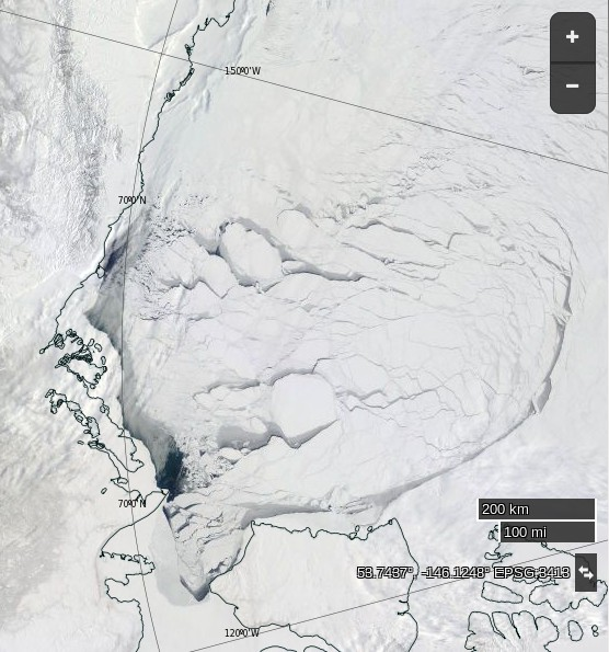 "NASA Worldview ""true-color"" image of the Beaufort Sea on April 9th 2016, derived from the MODIS sensor on the Terra satellite"
