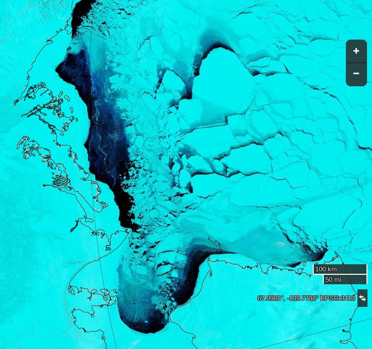 "NASA Worldview ""false-color"" image of the Beaufort Sea on April 21st 2016, derived from the MODIS sensor on the Terra satellite"