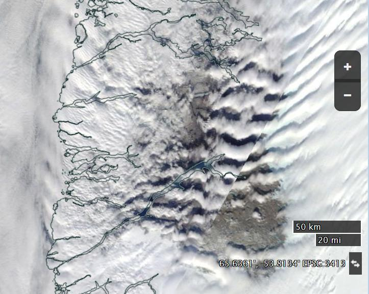 "NASA Worldview ""true-color"" image of South West Greenland on April 12th 2016, derived from the MODIS sensor on the Terra satellite"