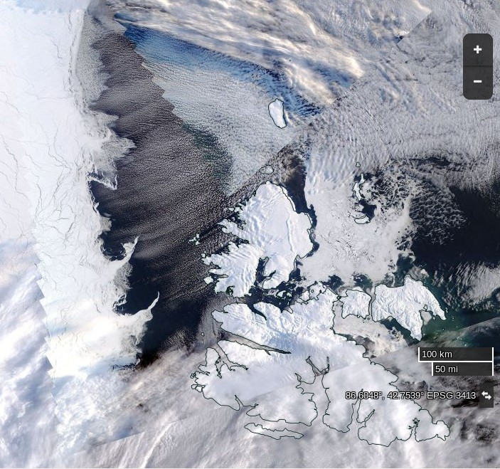 "NASA Worldview ""true-color"" image of the Central Arctic north of Svalbard on March 14th 2016, derived from the MODIS sensor on the Aqua satellite"