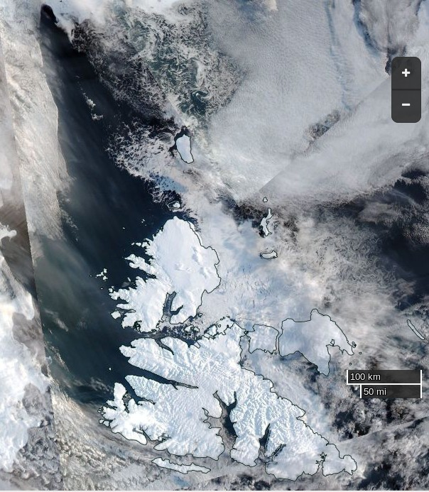 "NASA Worldview ""true-color"" image of the Central Arctic north of Svalbard on March 11th 2016, derived from the VIIRS sensor on the Suomi satellite"