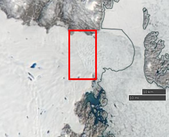 "NASA Worldview ""true-color"" image of the Zachariae Isstrøm glacier on August 26th 2015, derived from the MODIS sensor on the Aqua satellite"