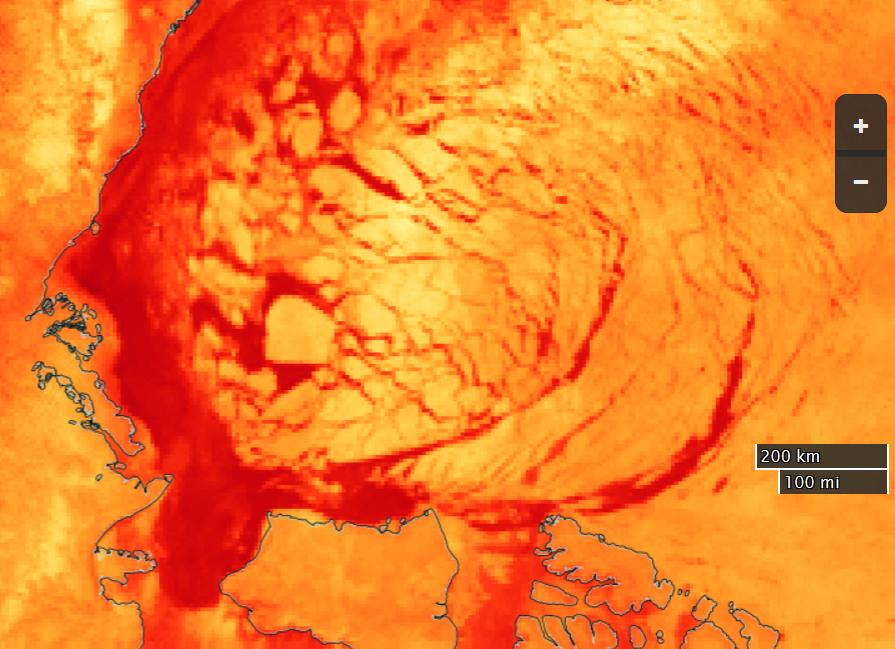 NASA Worldview brightness temperature image of the Beaufort Sea on April 16th 2016, derived from the AMSR2 sensor on the Shizuku satellite