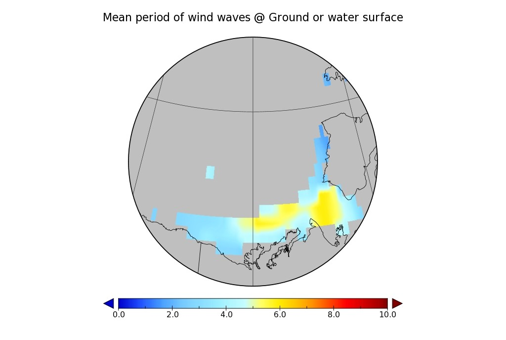 WaveWatch III wave period hindcast for the Beaufort Sea on April 26th 2016