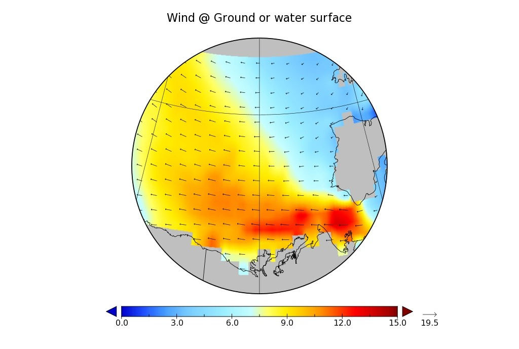 WaveWatch III wind hindcast for the Beaufort Sea on April 26th 2016