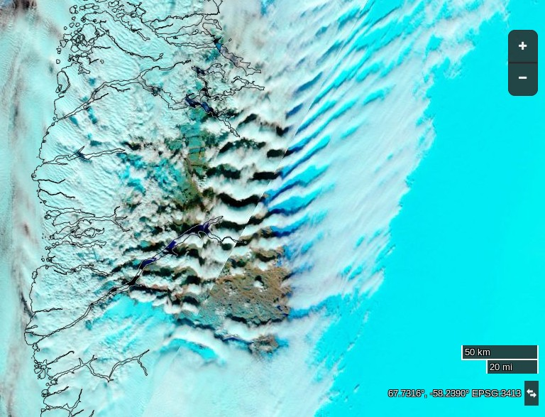 "NASA Worldview ""false-color"" image of South West Greenland on April 12th 2016, derived from the MODIS sensor on the Terra satellite"