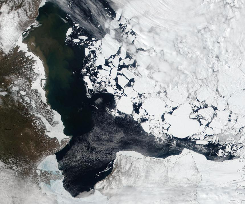 "NASA Worldview ""true-color"" image of the Beaufort Sea on June 4th 2016, derived from the VIIRS sensor on the Suomi satellite"