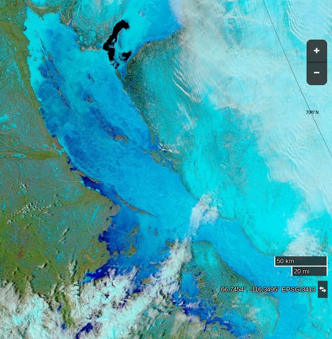 "NASA Worldview ""false-color"" image of the Northwest Passage on June 3rd 2016, derived from the MODIS sensor on the Aqua satellite"