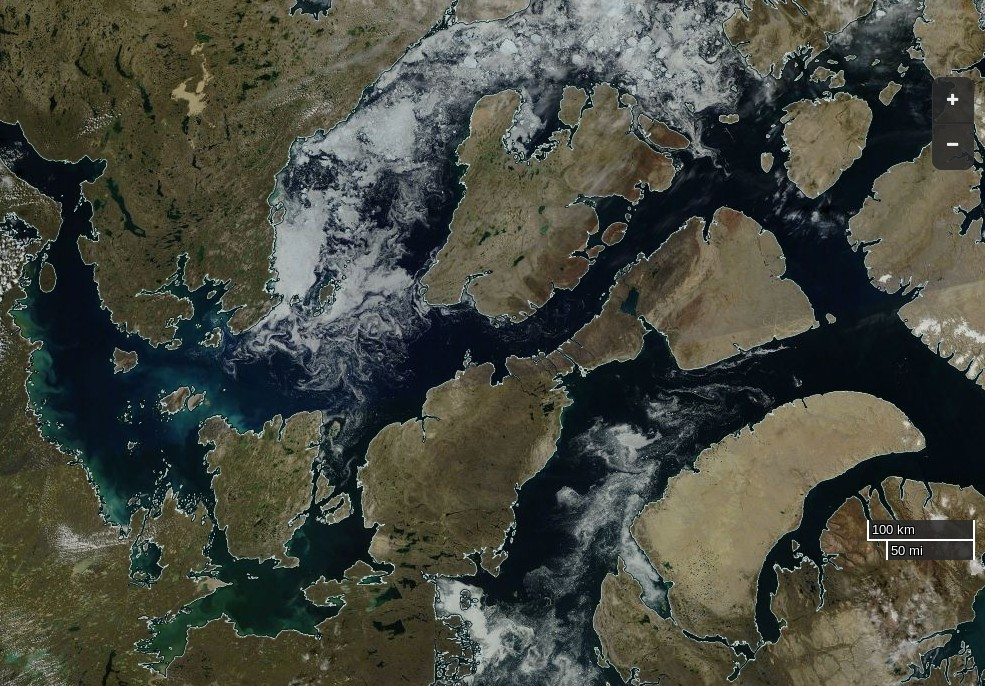 "NASA Worldview ""true-color"" image of the Northwest Passage on August 9th 2016, derived from the MODIS sensor on the Terra satellite"