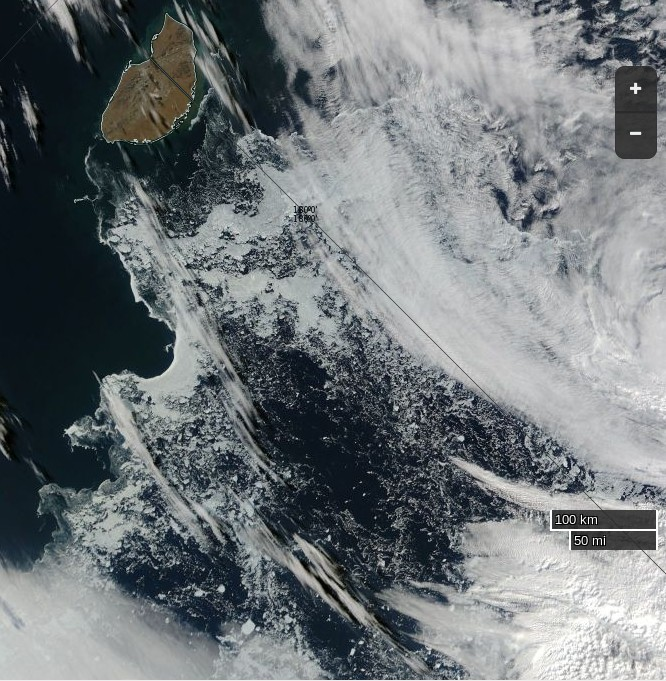 "NASA Worldview ""true-color"" image of the northern Chukchi Sea on August 28th 2016, derived from the MODIS sensor on the Aqua satellite"