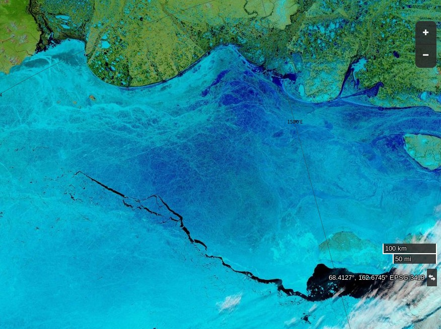 "NASA Worldview ""false-color"" image of the East Siberian Sea on June 4th 2016, derived from the MODIS sensor on the Terra satellite"